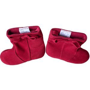 Baby Girl Red Textile Round Toe Booties Size 4